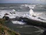 台風で荒れる波