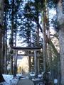 神社の参道にも雪