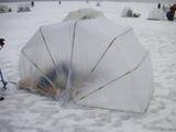レンタルのテントを組み立てた